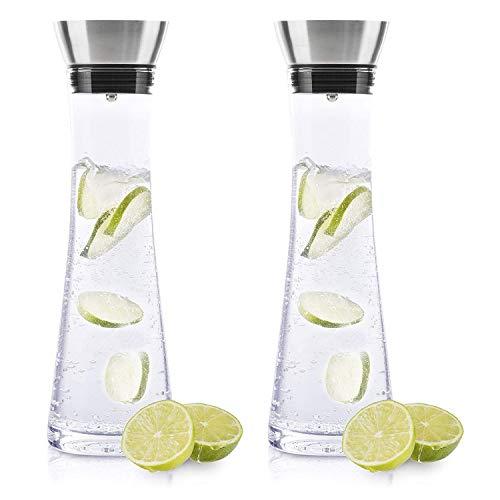 BeBuy24 2X Wasserkaraffe Glas (1 Liter)...