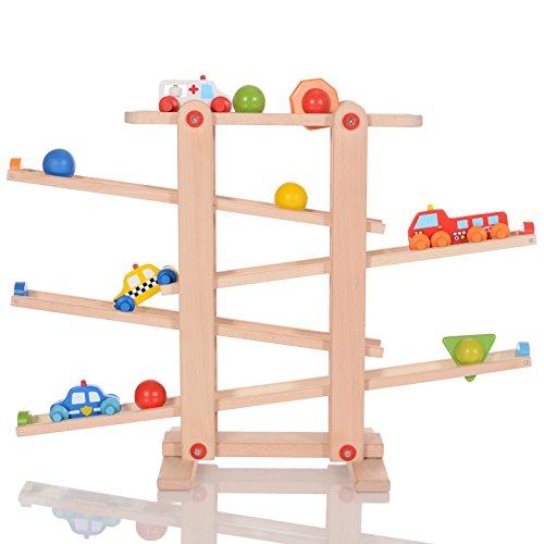 LCP Kids Auto Holz-Kugelbahn Spielzeug...